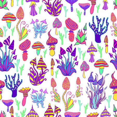 Bright, hallucinogenic, decorative, fantastic mushrooms, rainbow colors, each mushroom has its own pattern. Psychedelic mushroom seamless pattern, white background. Vector hand drawn illustration. Illustration