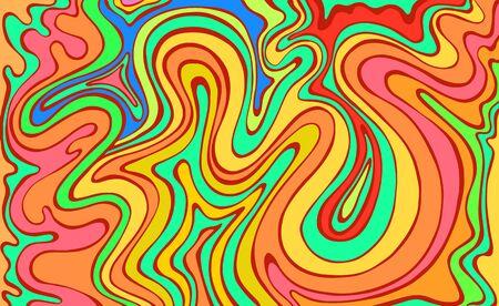 Ondes colorées psychédéliques. Art fantastique avec une texture décorative. Motif de griffonnage surréaliste. Motif abstrait de couleurs arc-en-ciel, vague de labyrinthe d'ornements. Illustration vectorielle dessinés à la main. Vecteurs