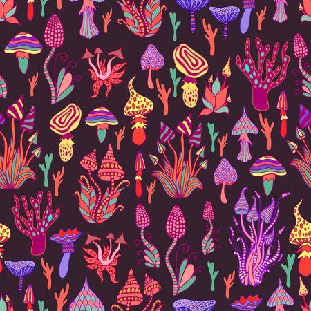 Hallucinogenic, decorative, fantastic mushrooms, each mushroom has its own pattern. Psychedelic mushroom seamless pattern. Illustration