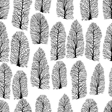 Seamless texture with trees without foliage, isolated white background. Decorative winter texture with black trees. Vector hand drawn black and white illustration. Stock Illustratie