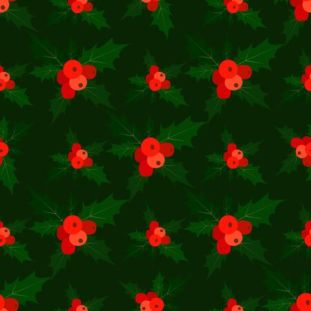 Seamless pattern with holly, isolated dark green background. Forest texture with   ilex leaves and red berries. Vector mary christmas illustration.