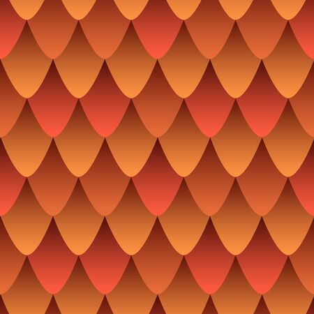 Fire Dragon Leather seamless pattern, colorful gradient in orange red color. Abstract scaly skin Dragon style texture effect. Vector decorative background of mythical fantastic animal skin. Ilustrace