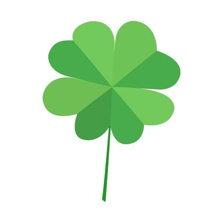 Zielony liść koniczyny czterolistnej, na białym tle. Wektor ozdobny simvol szczęście liść koniczyny. Dzień Świętego Patryka.