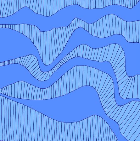 Doodle abstract wavy line frame, colorful blue shades. Decorative surreal background. Vector hand drawn pattern.