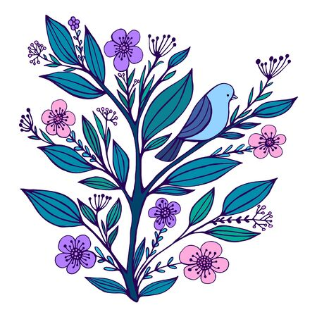 Blue bird sits on a flowering branch with flowered and leaves, isolated on a white background. Cartoon doodle style. Vector hand drawn cute colorful illustration. Vettoriali