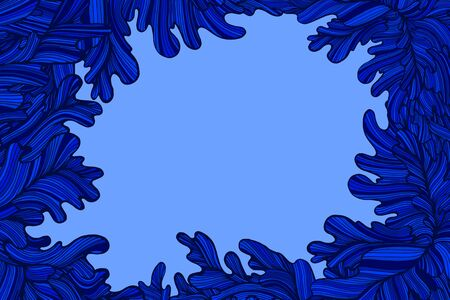 Colorful blue decorative waves frame with place for text. Abstract background with waves. Doodle style. Vector hand drawn illustration. Vector Illustratie