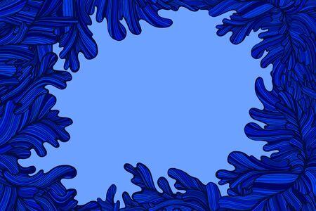 Marco de coloridas ondas decorativas azules con lugar para el texto. Fondo abstracto con ondas. Estilo Doodle. Vector ilustración dibujada a mano. Ilustración de vector