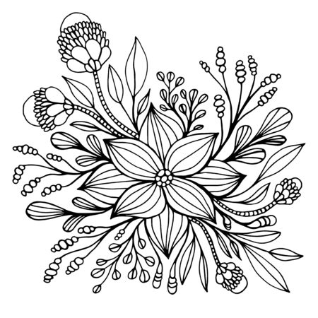 Fantasy flower framed by leaves and buds coloring page. Decorative elegant floret isolated on white background. Vector hand drawn illustration with plant and blooming fantastic flowers. Vector Illustration