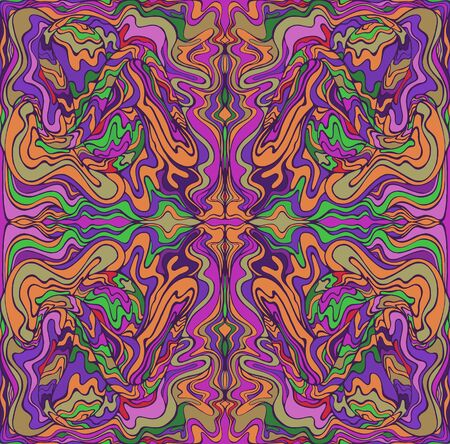Motley psychedelic fractal. Mirror abstract pattern, maze of wavy ornaments. Vector hand drawn bohemian fantasy illustration.