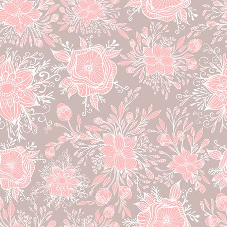 Fantasy blooming flowers seamless  pattern. Delicate pink white flowers isolated on a light brown background. Elegant texture with  fantastic florets. Vector hand drawn illustration. Vettoriali