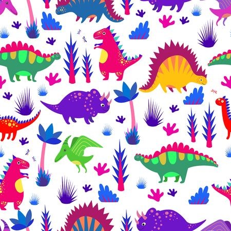 Bright colorful funny dinosaurs seamless pattern. Cartoon flat style. Vector background with jurassic animals triceratops, diplodocus, tyrannosaurus, stegosaurus, pterosaur, corythosaurus.