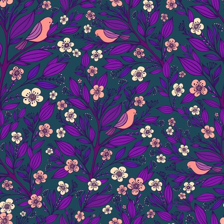 Purple pink birds sit on branches in the forest of flowers seamless pattern, isolated dark blue background. Doodle style. Vector hand drawn fantasy colorful illustration.