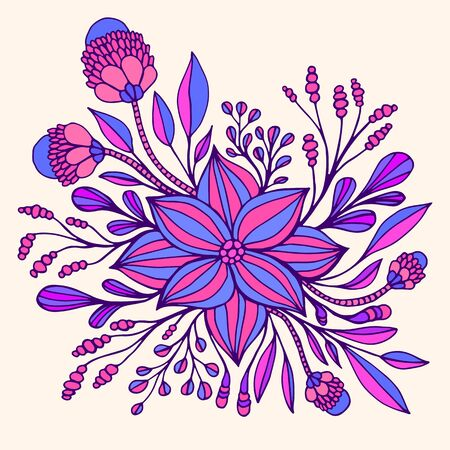 Colrful fantasy flower purple blue color, framed by leaves and buds. Decorative florets isolated on beige background. Vector hand drawn illustration with blooming fantastic flowers. Doodle style.