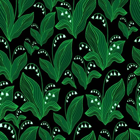 Lilies of the valley seamless pattern. Elegant floral pattern isolated on black background. Doodle style. Vector hand drawn flowers illustration.