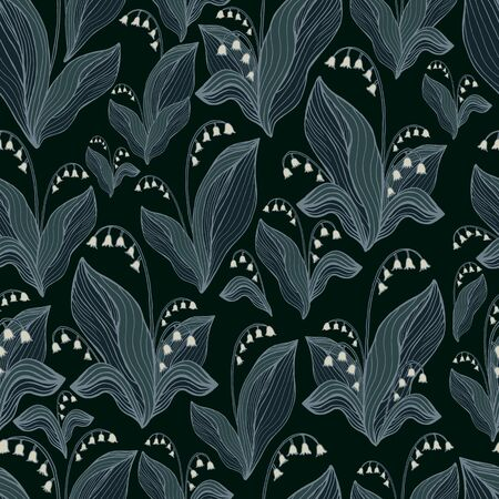 Lilies of the valley seamless pattern. Decorative white gray  flowers, isolated on black background. Doodle style. Vector hand drawn florets illustration. Illustration
