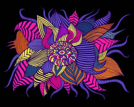 Variegated surreal flower, isolated on black background. Psychedelic stylish card with fantastic flower. Vector hand drawn colorful illustration. Doodle style.