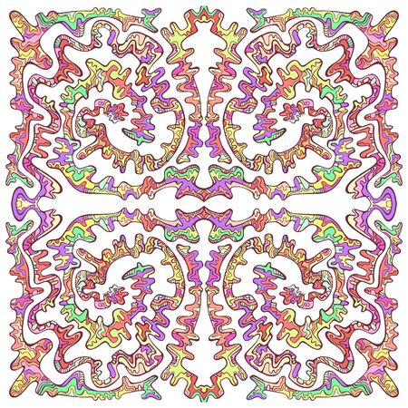 Doodle line art with maze of ornaments, pastel multicolor color, isolated on white background. Psychedelic stylish card. Vector fantastic illustration.