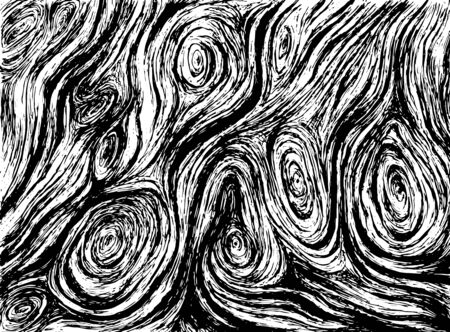 Decorative wood texture, isolated in white background. Vector hand drawn illustration with tree texture. Black and white realistic sketch style.