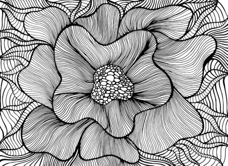 Fantasy artistic beautiful flower coloring page. Vector hand drawn illustration with elegant floret. Decorative stylish black and white blooming flower.