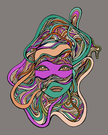 Cyborg girl face in wires, isolated grey background. Vector hand drawn fantastic illustration with face android girl.