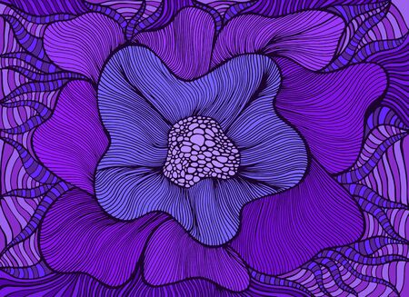 Amazing colorful fantasy blooming flower, violet shades color. Bohemian stylish card. Vector hand drawn illustration with fantastic flowers. Doodle style.