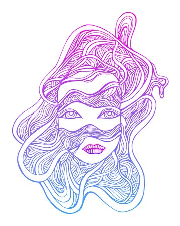 Colorful cyborg girl face in wires, fantastic cyberbank style, bright pink blue outline neon gradient color, isolated white background. Vector hand drawn illustration with face android girl.
