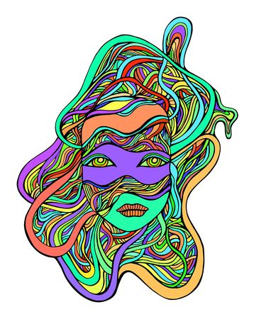 Cartoon fantastic colorful cyborg girl face in wires, isolated white background. Vector hand drawn illustration with face android girl. Doodle style.  Illustration