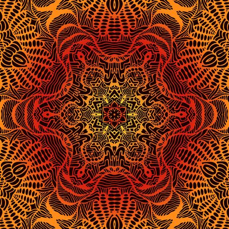 Vintage psychedelic trippy colorful fiery mandala. Yellow orange red gradient colors outline, isolated on brown background. Vector decorative abstract fractal with maze ornament shamanic illustration.