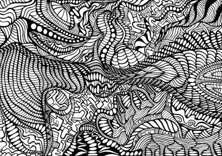 Coloring page abstract pattern, maze line of ornaments. Psychedelic stylish card. Vector hand drawn illustration Antistress tribal background. Black and white decorative texture.  Illusztráció