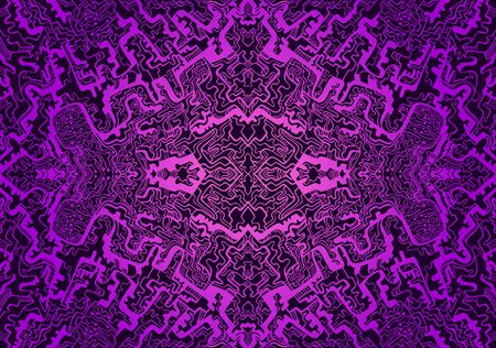 Vintage psychedelic trippy colorful fractal pattern. Gradient magenta, dark purple colors. Decorative surreal abstract mandala with maze of ornament shamanic fantasy texture. Vector organic background