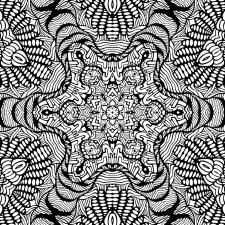 Coloring page abstract mandala with decorative doodle ornament. Artistic psychedelic antistress pattern. Black and white sacred geometry style. Vector hand drawn illustration.