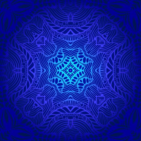 Vintage psychedelic trippy colorful fractal pattern. Gradient blue, dark blue colors. Decorative surreal abstract mandala with maze of ornament shamanic fantasy texture. Vector bohemian illustration.