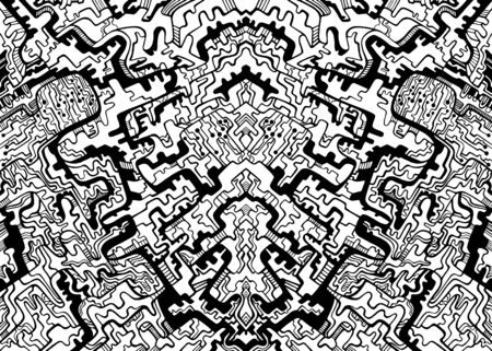 Coloring page abstract pattern with maze of ornaments. Psychedelic stylish card. Vector illustration. Antistress cyberpunk tribal background. Black and white symmetrical decorative texture.