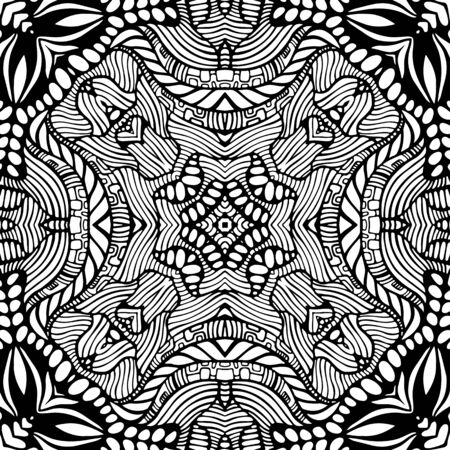 Coloring page ethnic intricate mandala with decorative doodle ornament. Artistic psychedelic antistress pattern. Black and white bohemian style. Vector hand drawn illustration.