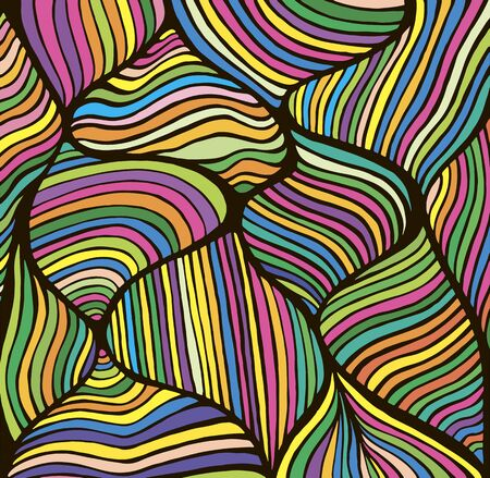 Bright abstract lines art pattern, rainbow multicolor color. Decorative psychedelic stylish card. Vector hand drawn illustration. Doodles wave background.  Illustration
