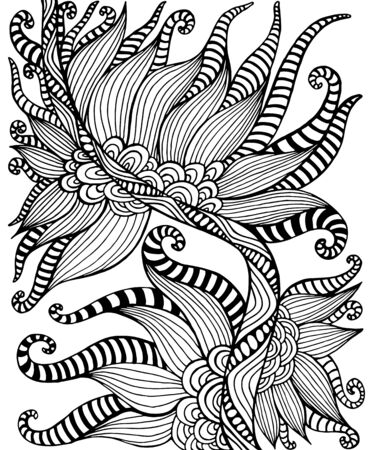 Black and white bohemian ornamental floral pattern coloring page. Decorative abstract doodle style element, isolated on white background. Vector hand drawn illustration.