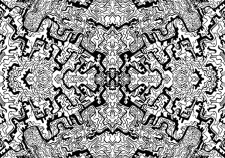 Artistic coloring page with many decorative abstract patterns. Psychedelic stylish card. Vector illustration. Antistress cyberpunk tribal background. Black and white kaleidoscope ornaments art.