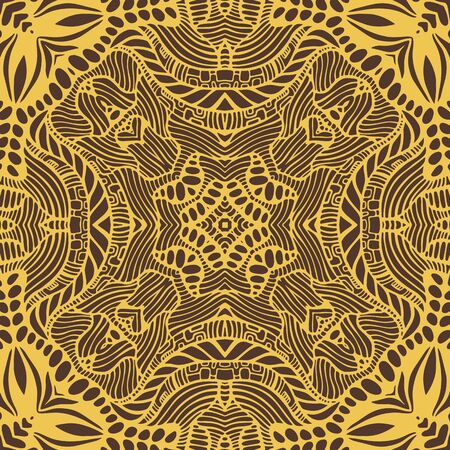 Elegant boho mandala with many ornament, golden color outline, isolated on dark brown background. Ethnic tribal psychedelic stylish background. Vector hand drawn illustration.