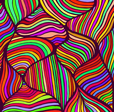 Abstract doodle style pattern, rainbow color. Decorative psychedelic stylish background. Vector hand drawn illustration.