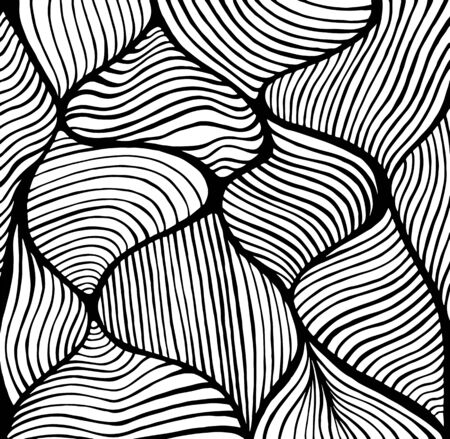 Abstract doodle decorative line art coloring page pattern. Vector hand drawn antistress illustration. Black and white waves background. Vettoriali