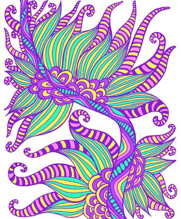 Decorative doodle colorful abstract ornament, isolated on white background. Fantasy bohemian element. Vector hand drawn illustration.