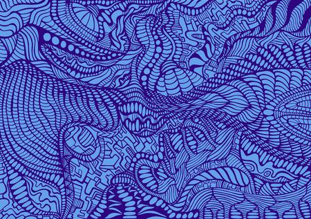 Doodle style colorful surreal pattern. Abstract ornament dark blue outline, isolated on blue background. Vector hand drawn illustration. Vettoriali