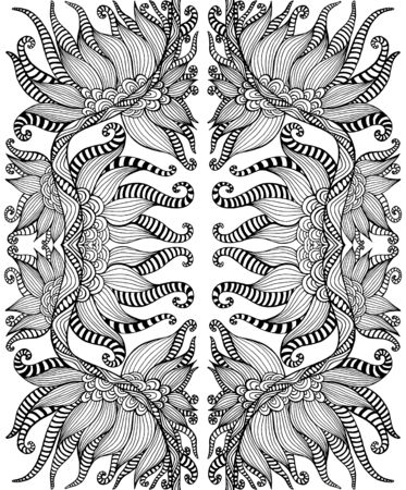Black and white psychedelic shamanic ornament coloring page. Fantasy bohemian abstract background. Vector illustration. Surreal doodle pattern.