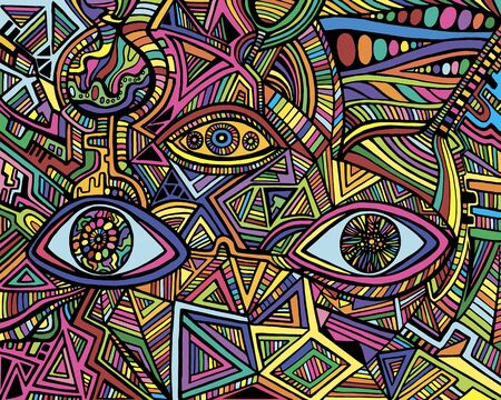 Cartoon fantastic psychedelic shamanic eyes of crazy patterns. Artistic art with decorative eyes. Surreal doodle stylish card. Abstract pattern with maze ornaments. Vector hand drawn illustration.