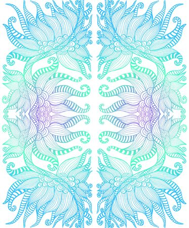 Elegant tribal intricate ornament, blue cyan turquoise gradient color outline, isolated white background. Shamanic psychedelic mirror pattern. Vector abstract wallpaper.