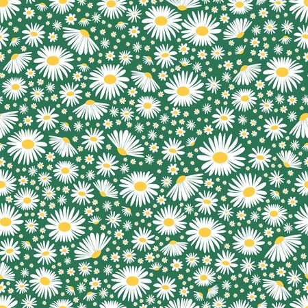 Wild chamomile seamless floral background. Vector daisy meadow flowers spring, summer texture. Trendy ditsy floral wallpaper for print, fashion, textile, fabric, decoration, wrapping. Vettoriali