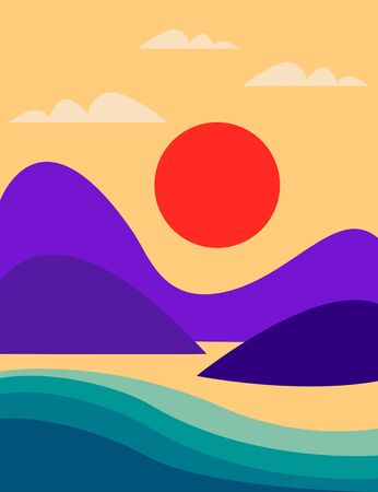 Seascape with mountains, sea and orange sun. Flat style marine colorful summer landscape. Vector illustration with cartoon abstract landscape. Vettoriali