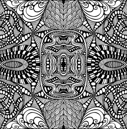 Ornamental pattern doodle style with maze ornaments Coloring page. Mystic abstract boho texture. Tribal ethnic shamanic background. Black and white trippy wallpaper.