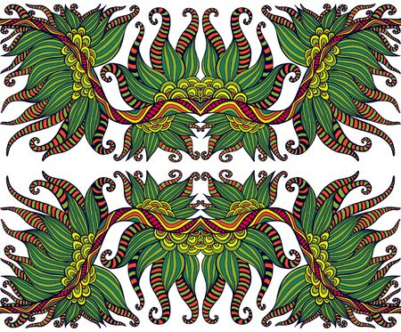Ethnic shamanic tribal psychedelic symmetrical ornament. Decorative colorful stylish element, isolated on white background. Vector hand drawn fantasy illustration. Illusztráció