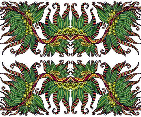 Ethnic shamanic tribal psychedelic symmetrical ornament. Decorative colorful stylish element, isolated on white background. Vector hand drawn fantasy illustration. 矢量图像